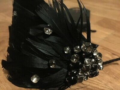 Jasper Conran Black feather headband with diamante new with tags