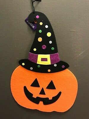 Halloween Felt Hanging Door Wall Decor Skull Sleleton Witch JAck O' Lantern 16""