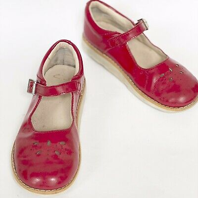 CLARKS Girls Red Patent Retro Mary Jane Buckle School Shoes Size 11.5F Eu 29.5