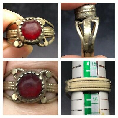 Very Old Ancinet Roman Heated Glass Ruby Old Mix Sliver Ring