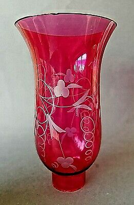 Vintage Cranberry Coloured Glass Lamp Shade Light Shade