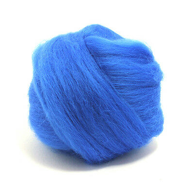 100g DYED MERINO WOOL TOP ROYAL BLUE DREADS 64's SPINNING FELTING ROVING