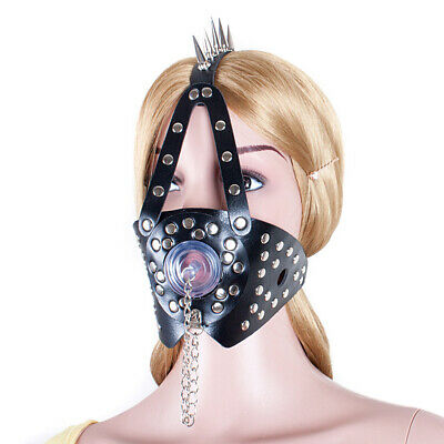 Slave Head Harness PU Leather Studed Mouth Gag Restraint Roleplay black headgear