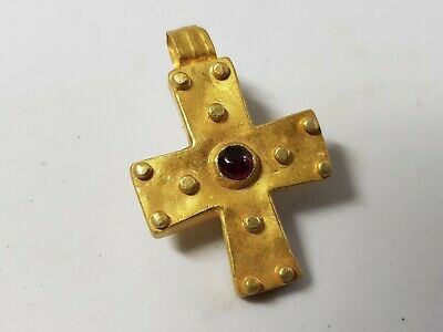Early Medieval Gold Cross with Garnet  8th-10th Century AD