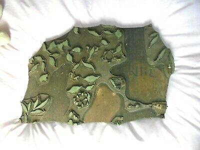 Victorian Wooden Hand Carved Wallpaper Stamp Wall Paper Block LARGE NO 3