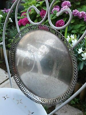 Elegant Vintage Silver Plated Gallery Ornamental Tray With Engraved Pattern Fab!