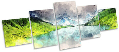 Mountain Modern Abstract Picture CANVAS WALL ART Five Panel Multi-Coloured