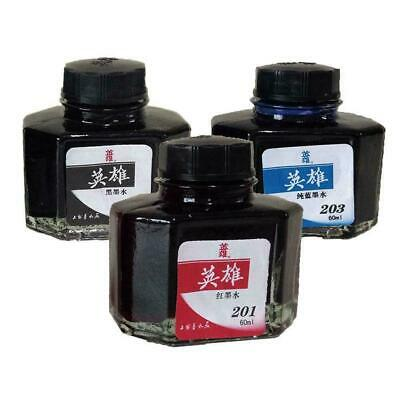 60ml Hero 234 Carbon Fountain Pen Writing Ink Refill Black Red Bottle Glass Q4A4