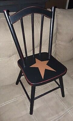"20"" tall wood high back spindle doll chair ~ black ~ primitive star"