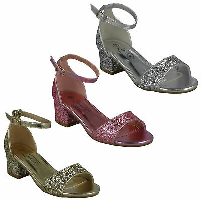 Girls Spot On Buckle Ankle Strap Open Toe Glitter Party Evening Sandals H1R107