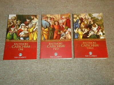 Lot 3 Third Council of Baltimore Catechism Books Volumes 1-3 Catholic