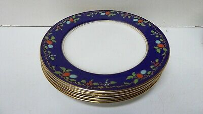 Antique Wedgwood Majolica Pottery Dinner Plates Cobalt Blue Fruit Decorated