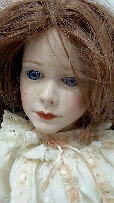 Vintage Porcelain Doll Ggh S.c.s. 1990 Glass Eyes