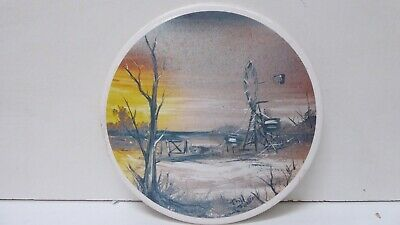 Hr Johnson England Pottery Tile Australian Painting Signed Pot Stand