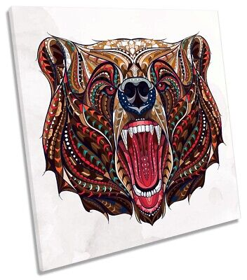 Bear Face Tribal Picture CANVAS WALL ART Square Print Brown