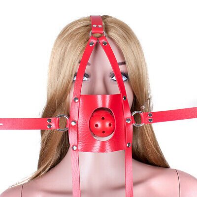 Slave Head Harness PU Leather Mouth Gag Restraint SM Roleplay party headgear 045