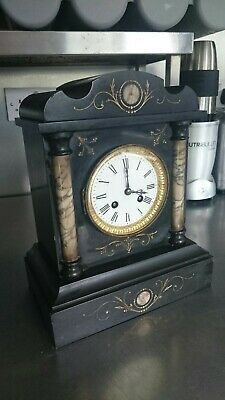Antique Marble Slate Mantle Striking Clock French Needs Work