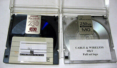 2x MO Disk for pc and mac 230MB vintage storage Imation and Maxell brands