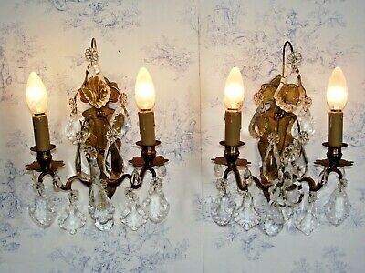 Pair Large Double Antique French Chateaux Rococo Bronze Crystal Wall Lights 1422