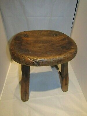 Antique Elm Rustic Four Legged Stool
