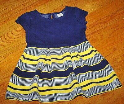 Gymboree Rain Or Shine Girls XS 4 Navy Yellow Stripe Solid Fit & Flare Dress HTF