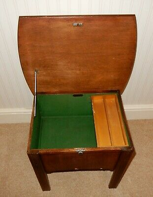 Art Deco Oak Veneered Sewing Box Stool