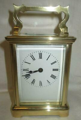 Antique English/French Brass Cased Carriage Clock + Key (Working)