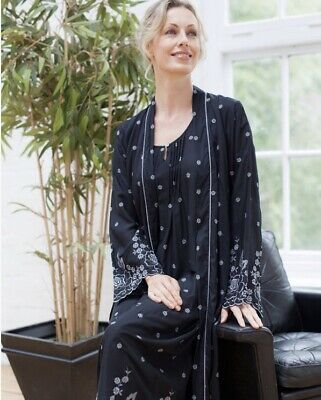 Cyberjammies Nora Rose Black Embroidered Woven Robe/ Wrap UK Size 12 BNWT