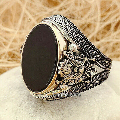 Luxe Motif Solide 925 Argent Sterling Turquoise Ottoman Signe Homme Femme Bague