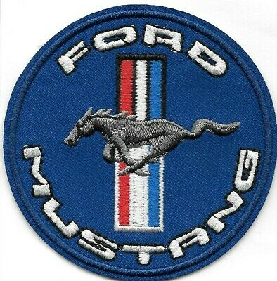 Ford Mustang car round Embroidered Patch Iron-On Sew-On fast US shipping
