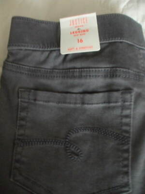 Justice Gray Heather Pull On Jean Legging Full Length Mid Rise Girls Sz 16  NWT