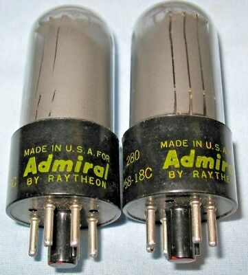 Pair of Raytheon 6V6GT Vacuum Tubes branded Admiral NOS Matched, date codes same