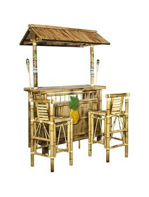 Island Tiki Bamboo Bar with Two Stools and Two Torches [ID 36305]