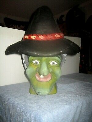 VERY LARGE Collectible Vintage Creepy Cool Paper Mache Wicked Halloween WITCH