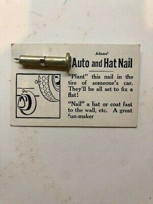 1940's SS Adams White Card Auto & Hat Nail NOS moc old store stock