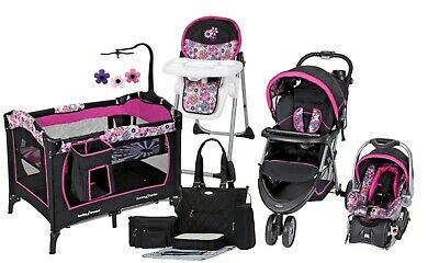 Baby Stroller Car Seat Travel System Combo with Playard Hi Chair Diaper Bag New