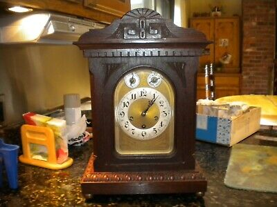 ANTIQUE GERMAN JUNGHANS 1914 LARGE BRACKET CLOCK WESTMINSTER CHIME. English Waln