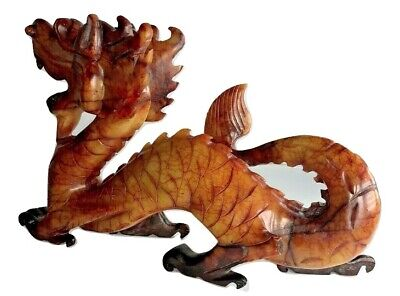Jade Chinese Jadeite Dragon Statue Carved Natural Old Hand Beast Statues Hook Co