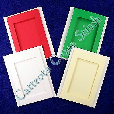 Tri-Fold Card Cross Stitch Red White Green Ivory Aperture Cards & Envelopes