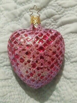 "West German Glittered Dark Pink Heart Blown Glass Christmas Ornament 3.25"" #2"