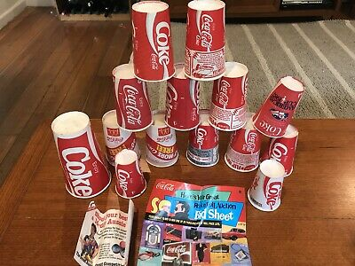 14. Vintage Drink Coca Cola Wax Coated Drinking Cups 1980's