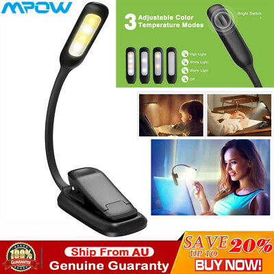 Mpow 7 LED Book Read Reading Light Clip on Rechargeable 3-level Brightness Lamp