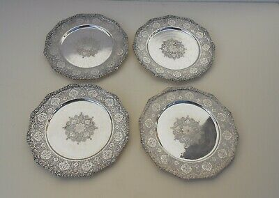 Rare Set Of 4 Sterling Silver Antique Russian Dessert Plates & Dishes