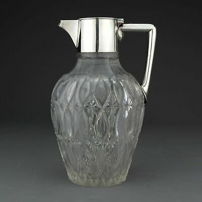 Antique German Solid Silver And Cut Glass Claret Jug / Decanter Wilhelm Binder