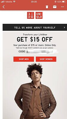 Uniqlo $15 Off $75 Coupon Expires 10/3/2019 Online One Time