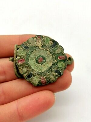 Ancient Roman Ca.300 Bronze Enamelled Umbonate Brooch  - R 918