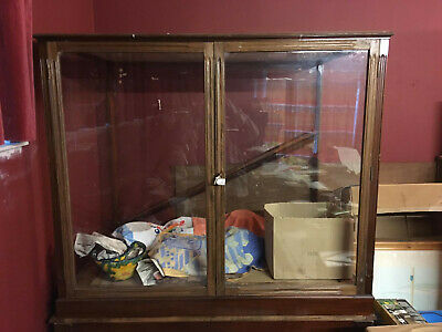 Museum Glass Cabinet Display Case Large Vintage Mahogany