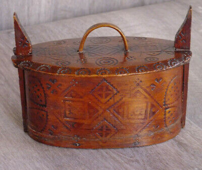 Antique Norwegian Tine Box; 19thC; Bentwood with poker work decoration; Fab Item
