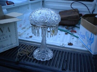 PAIRPOINT Antique Art Nouveau leaded crystal Glass Shade Lamp  matching base
