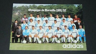 Carte Adidas Football Photo Olympique Marseille Om 1991-1992 Waddle Papin